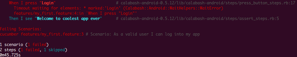 Calabash failing test capture