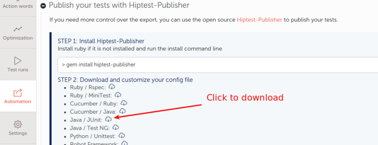 Configuration file predefined downloading on Hiptest