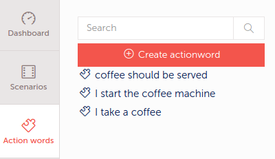 Create action words for coffee machine