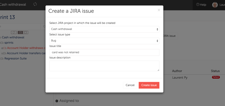 Create Jira issues directly from Hiptest