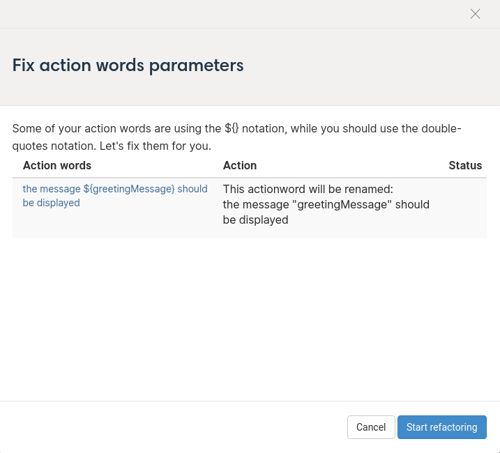 Fix action word parameters modal