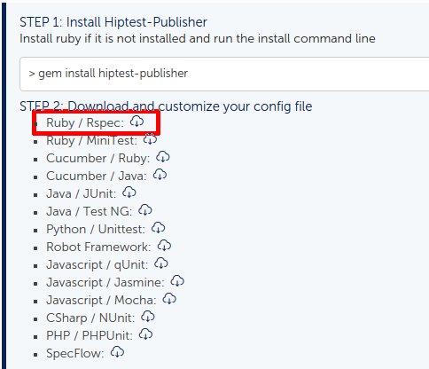 Get the configuration file for Hiptest publisher