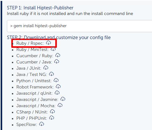 Get the configuration file for Hiptest publisher