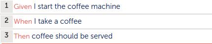 Gherkin syntax for coffee machine test
