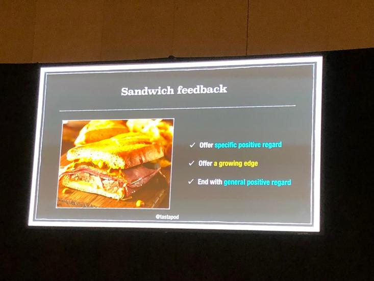 Sandwich feedback technique by Dan North at Atlassian Summit 2018