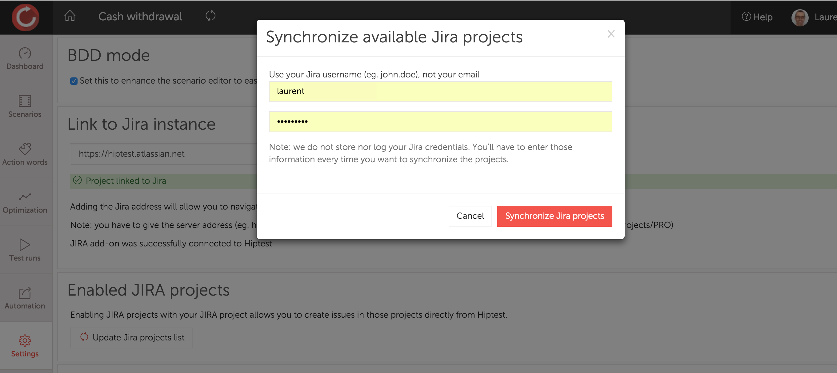 Synchronize available Jira projects