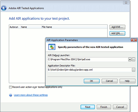 Specifying AIR Debug Launcher Parameters