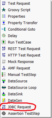 All SoapUI test steps   JDBC circled