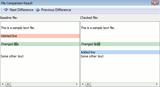 File difference view in the test log