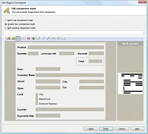 Image comparison mask editor