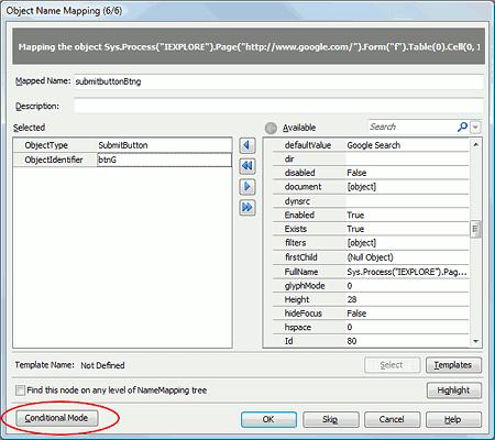 Object Name Mapping dialog - basic mode