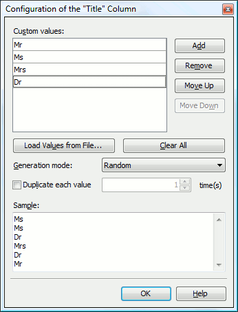 Settings of the List Generator