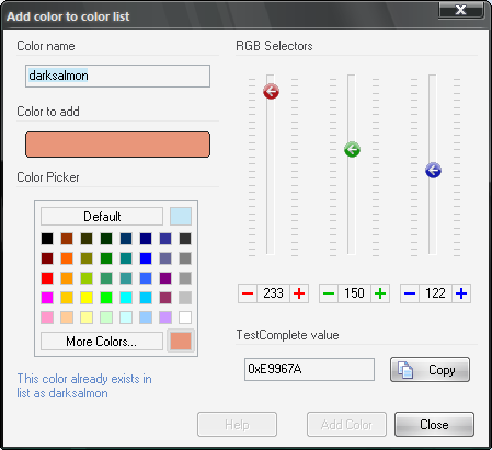 Add Colors dialog