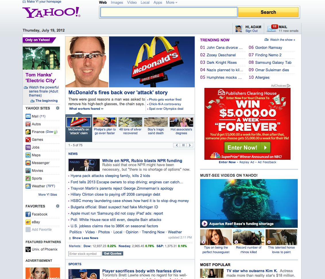 Yahoo's member homepage