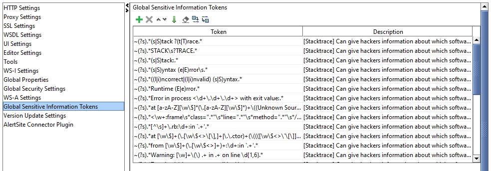 The Global Sensitive Information Tokens tab