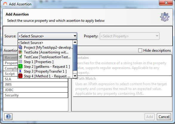 how to add xpath assertion in soapui