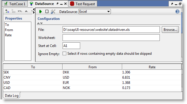 Excel DataSource Log