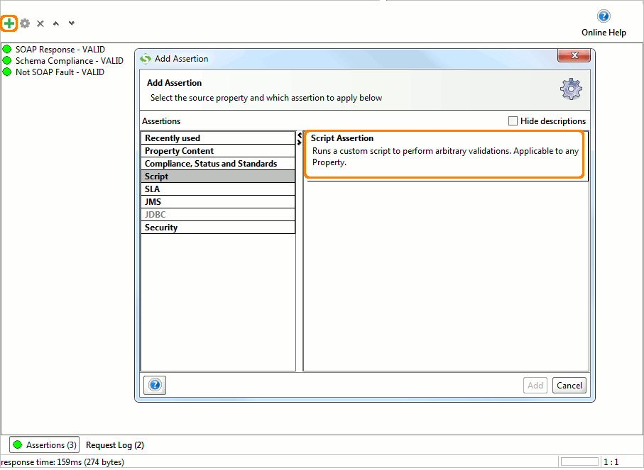 Add script assertion dialog