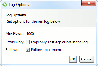 Run TestCase log options