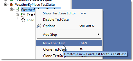 Create new LoadtTest in SoapUI