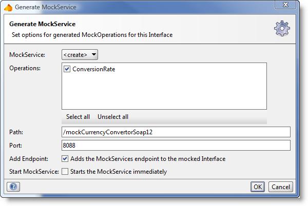 Generate MockService Dialog SoapUI