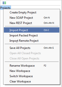 Import sample SoapUI project
