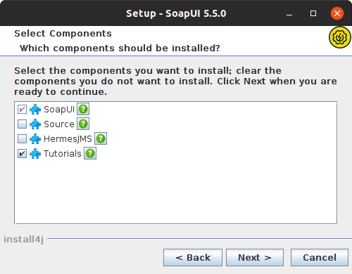 Installing SoapUI on Linux: Select components
