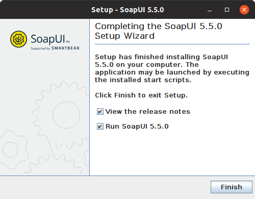 Installing SoapUI on Linux: Finish installation