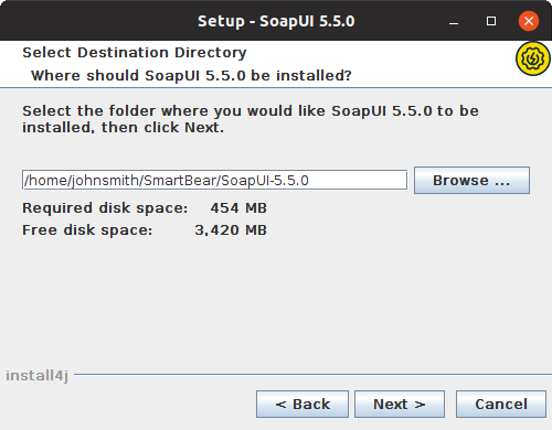 Installing SoapUI on Linux: Select destination directory
