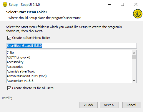 Installing SoapUI on Windows: Select start menu folder