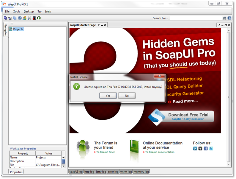 Renewing SoapUI Pro Trial License   Licenses