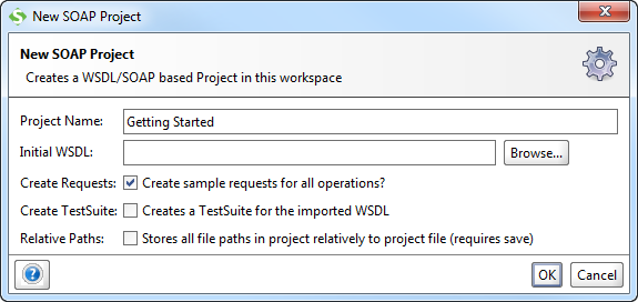 New SoapUI pProject dialog