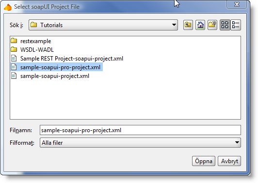 Selecting sample project