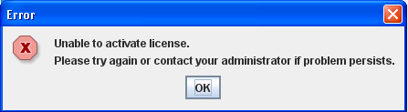 Unable to activate license