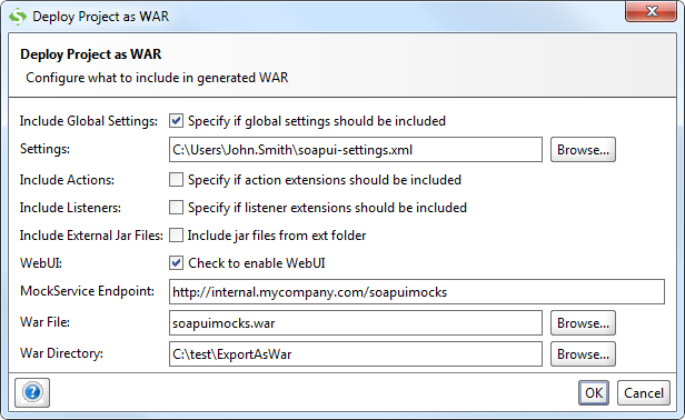 Deploy as WAR dialog