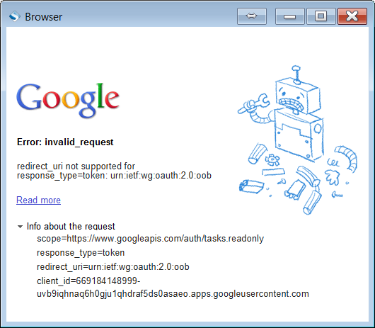 Sample Browser Error: Google