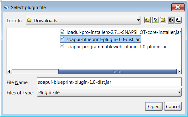 Browsing for plugin file