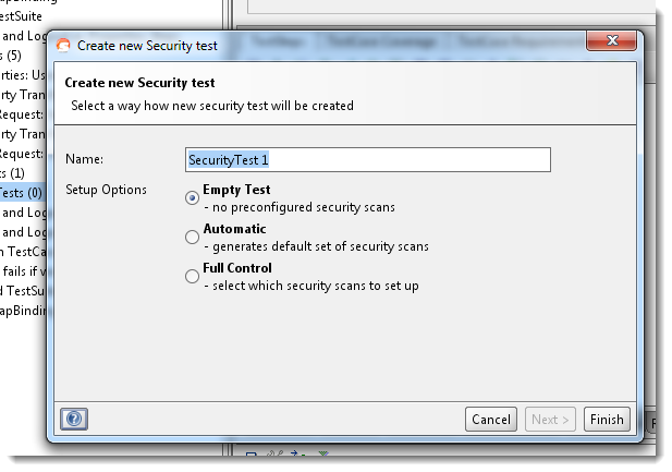 Create security test wizard