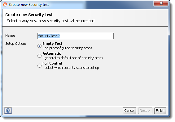 New security test wizard