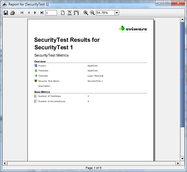 Printable security test report