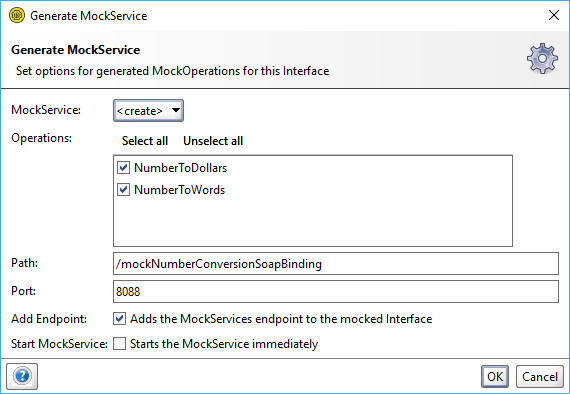 The Generate MockService dialog