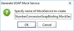 The Generate SOAP Mock Service dialog