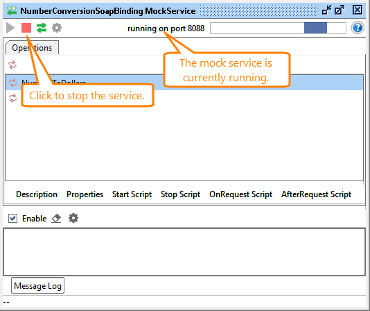 The mock service editor: Mock service running