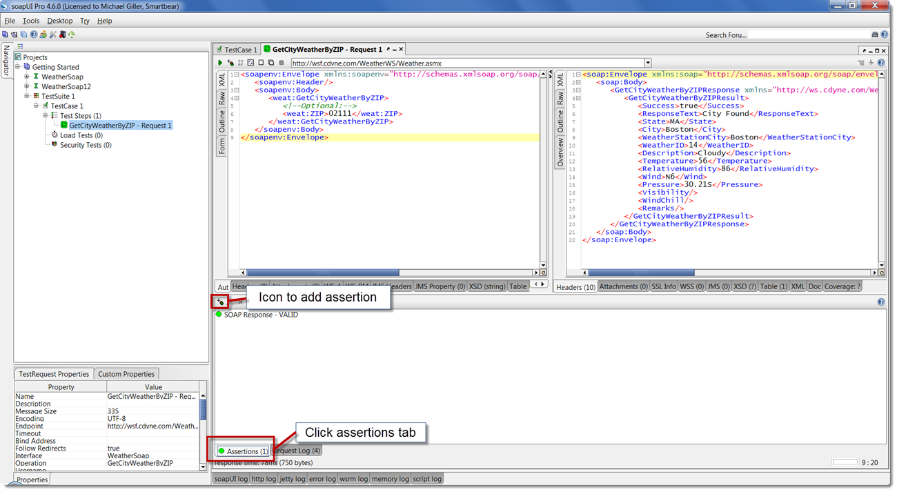 Working with soapui pro about soapui pro 3 validating with assertions baditri Images