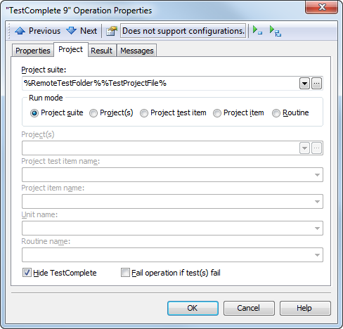 The TestComplete 8 operation properties