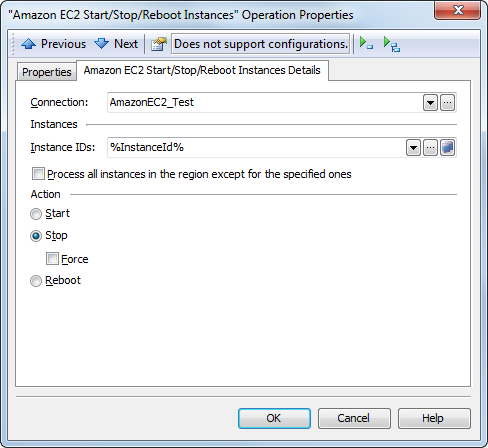 The Amazon EC2 Start/Stop/Reboot Instances operation properties