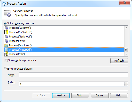 Selecting Process for Process Action