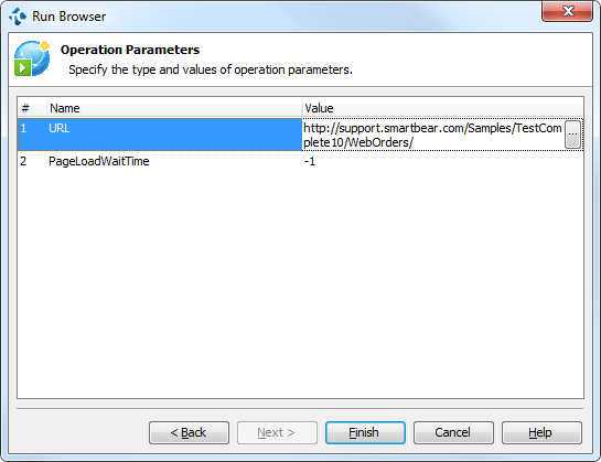 Specifying the URL as the parameter of the Run Browser operation