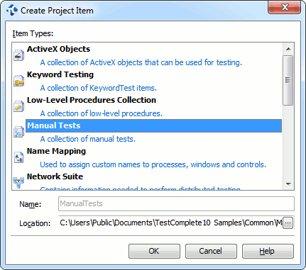 Create Project item Dialog