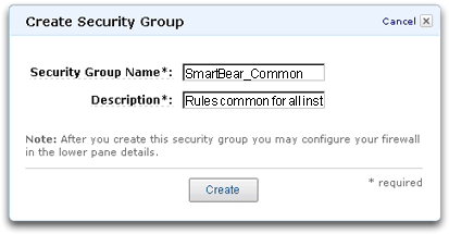 Creating a new Amazon Web Services EC2 security group